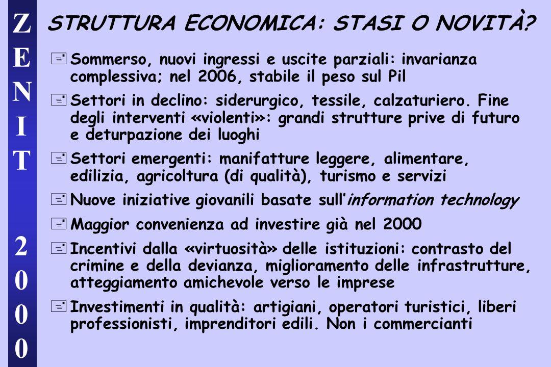 ZENIT 2000ZENIT 2000 STRUTTURA ECONOMICA: STASI O NOVITÀ.