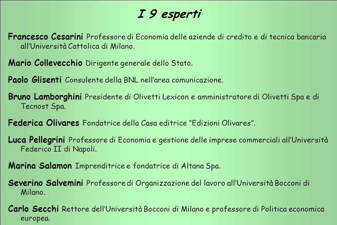 TERZIARIO FUTURO 2001 - 2003 TERZIARIO FUTURO 2001 - 2003 I 9 esperti Francesco Cesarini Professore di Economia delle aziende di credito e di tecnica