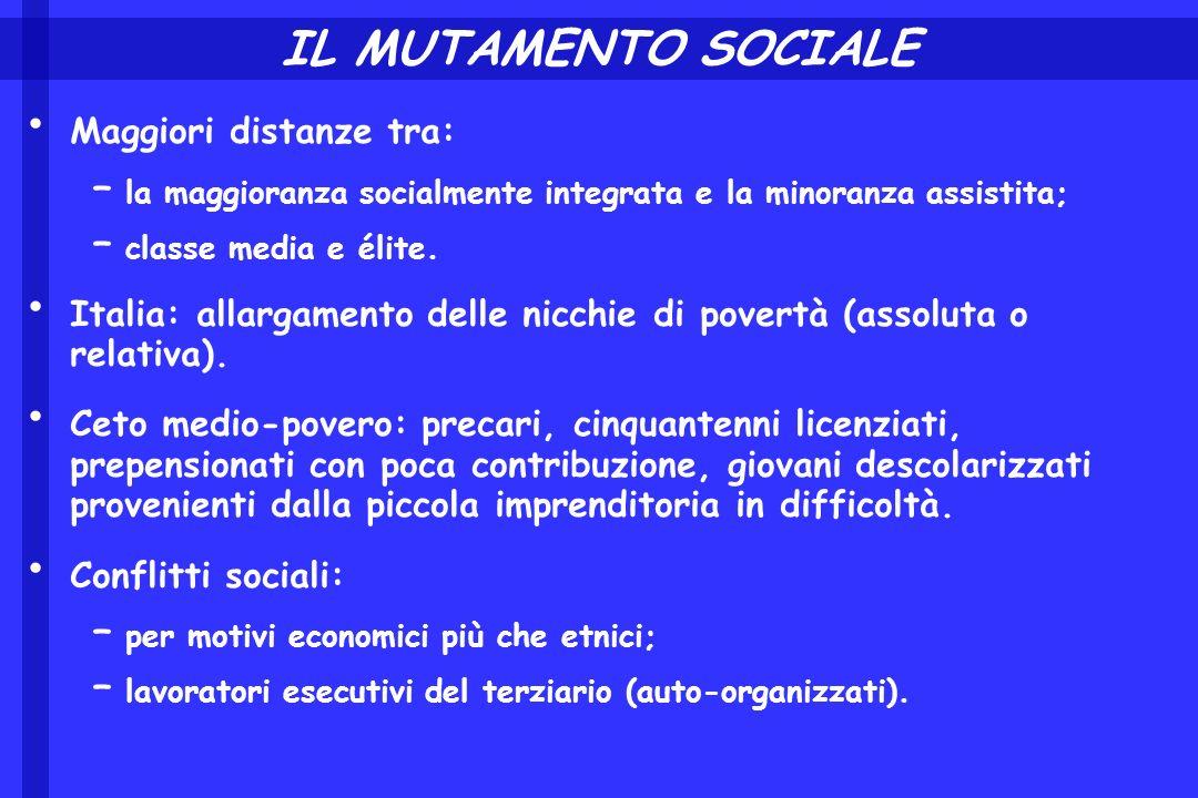IL MUTAMENTO SOCIALE Maggiori distanze tra: – la maggioranza socialmente integrata e la minoranza assistita; – classe media e élite. Italia: allargame