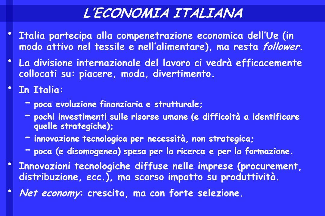 LECONOMIA ITALIANA Italia partecipa alla compenetrazione economica dellUe (in modo attivo nel tessile e nellalimentare), ma resta follower. La divisio