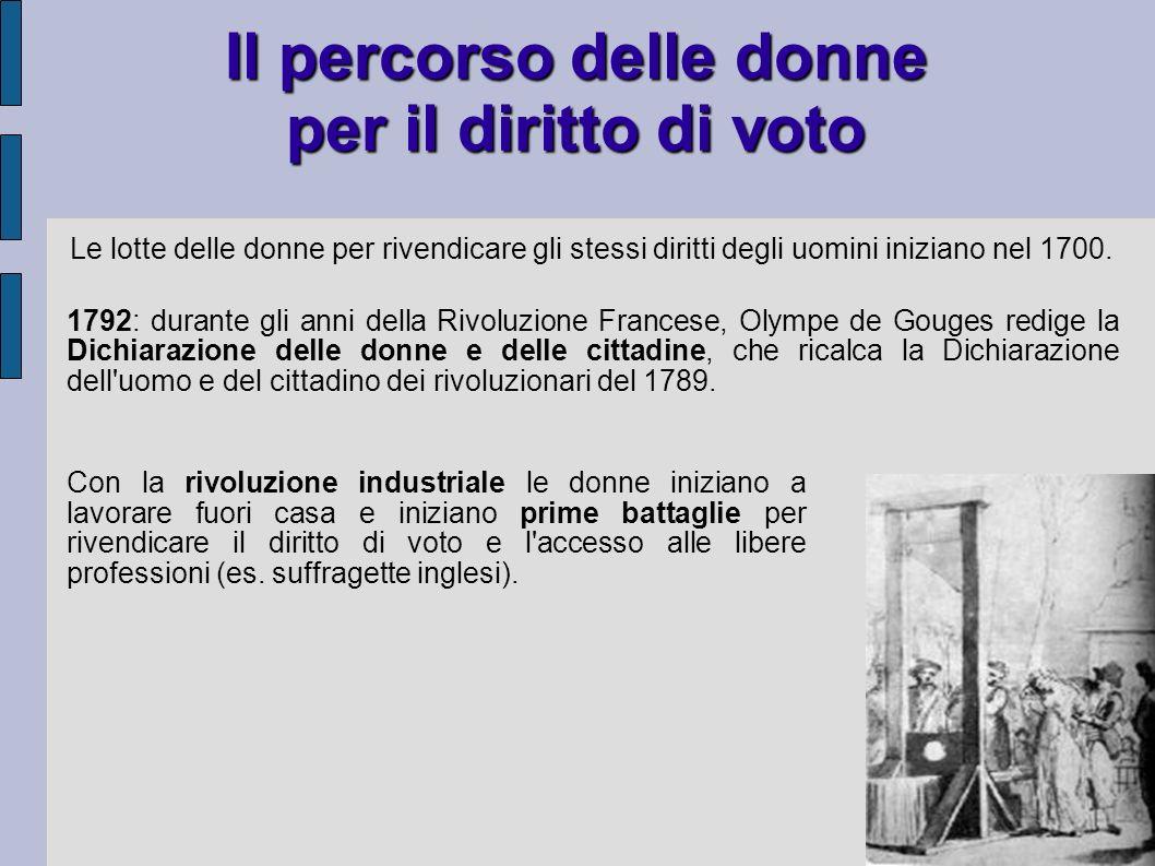 Il percorso delle donne per il diritto di voto Le lotte delle donne per rivendicare gli stessi diritti degli uomini iniziano nel 1700. 1792: durante g