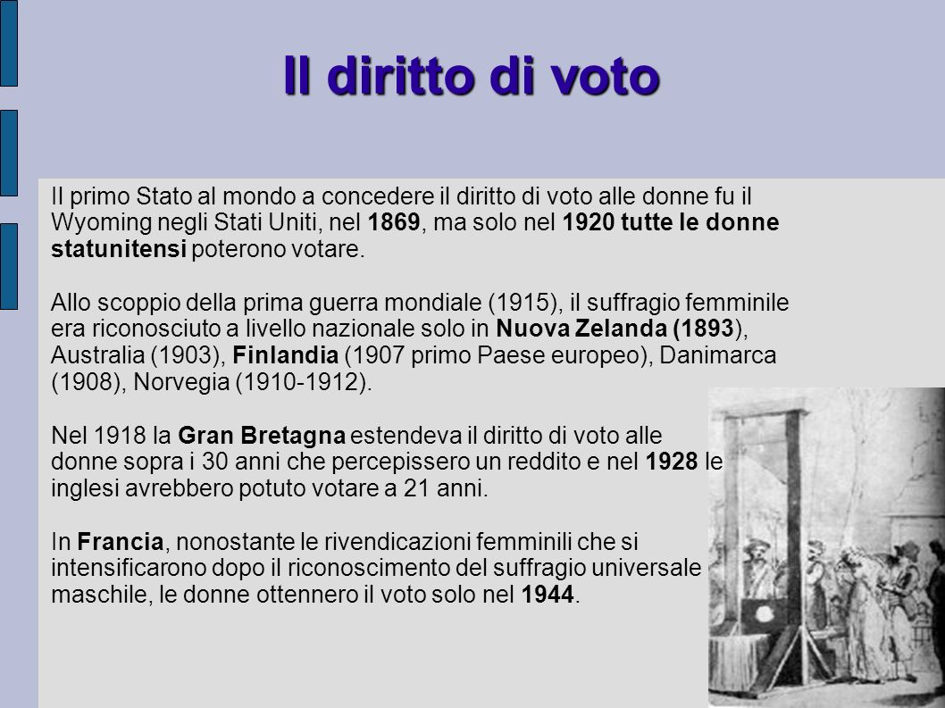 Il diritto di voto Il primo Stato al mondo a concedere il diritto di voto alle donne fu il Wyoming negli Stati Uniti, nel 1869, ma solo nel 1920 tutte