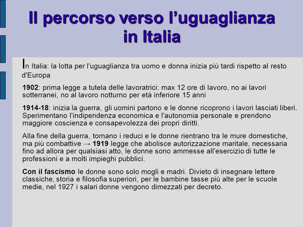 Il percorso verso luguaglianza in Italia 1902: prima legge a tutela delle lavoratrici: max 12 ore di lavoro, no ai lavori sotterranei, no al lavoro no