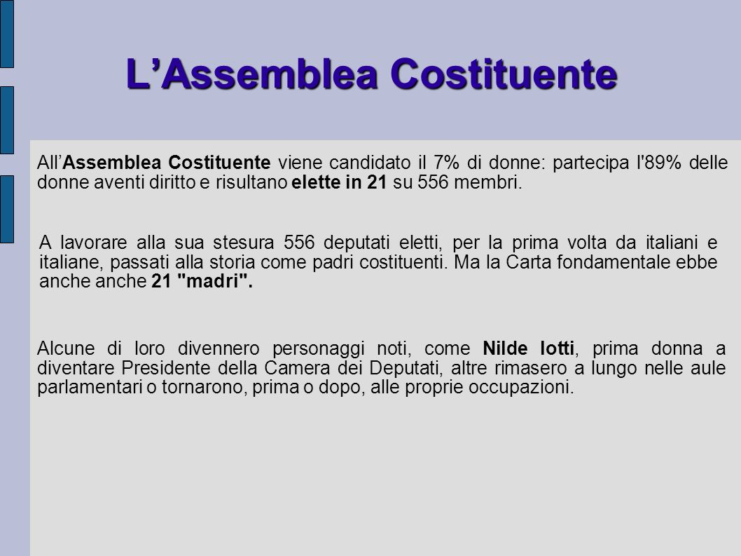 LAssemblea Costituente AllAssemblea Costituente viene candidato il 7% di donne: partecipa l'89% delle donne aventi diritto e risultano elette in 21 su