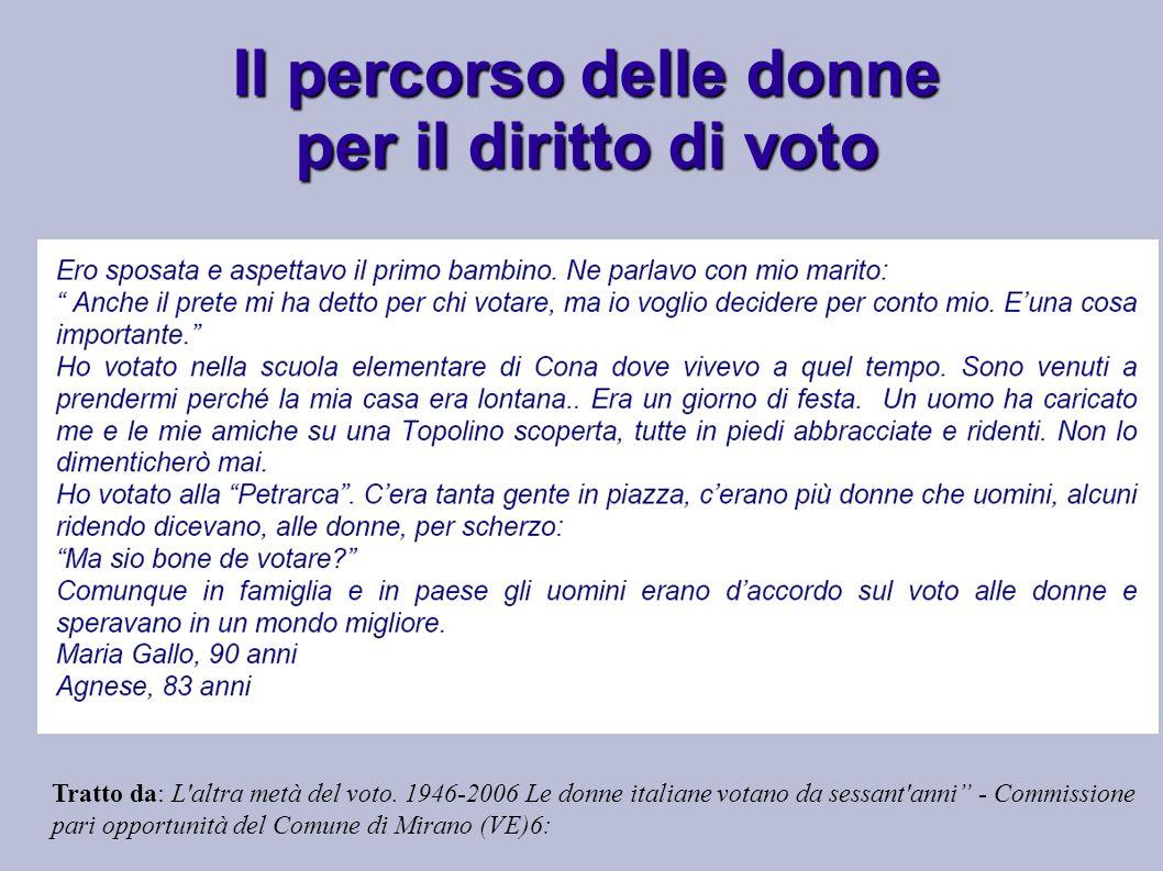 Tratto da: L'altra metà del voto. 1946-2006 Le donne italiane votano da sessant'anni - Commissione pari opportunità del Comune di Mirano (VE)6: Il per