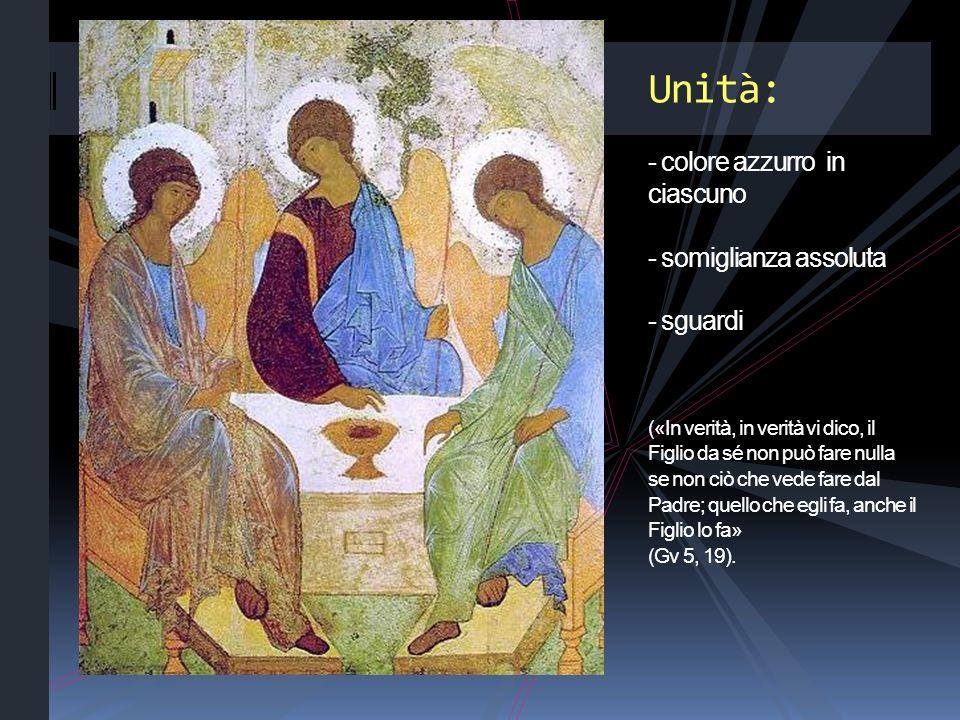 Unità: - colore azzurro in ciascuno - somiglianza assoluta - sguardi («In verità, in verità vi dico, il Figlio da sé non può fare nulla se non ciò che