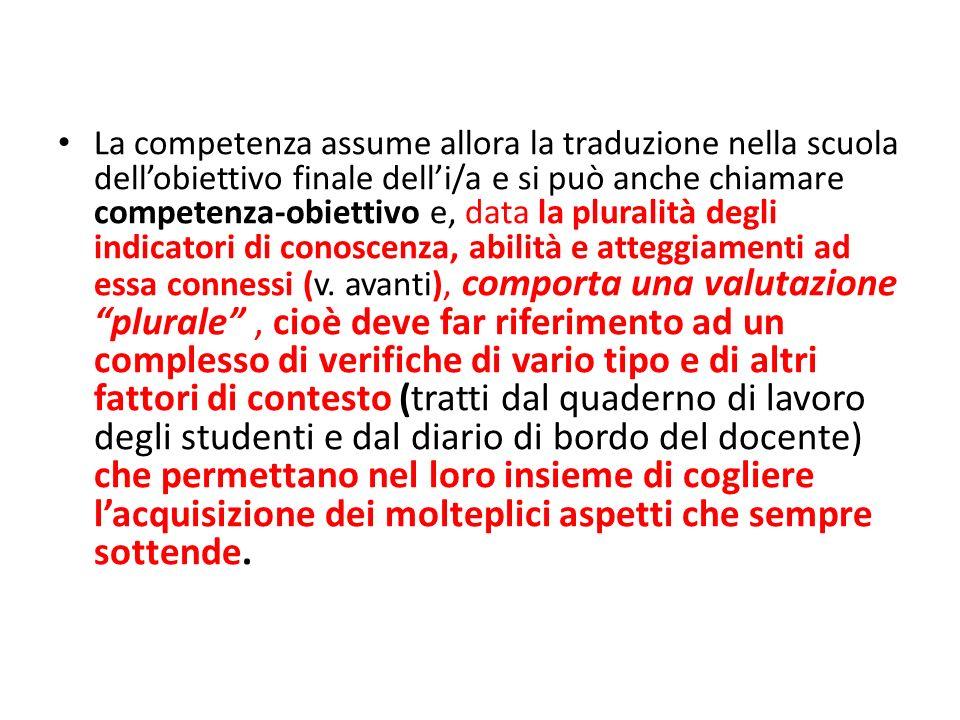 La competenza assume allora la traduzione nella scuola dellobiettivo finale delli/a e si può anche chiamare competenza-obiettivo e, data la pluralità