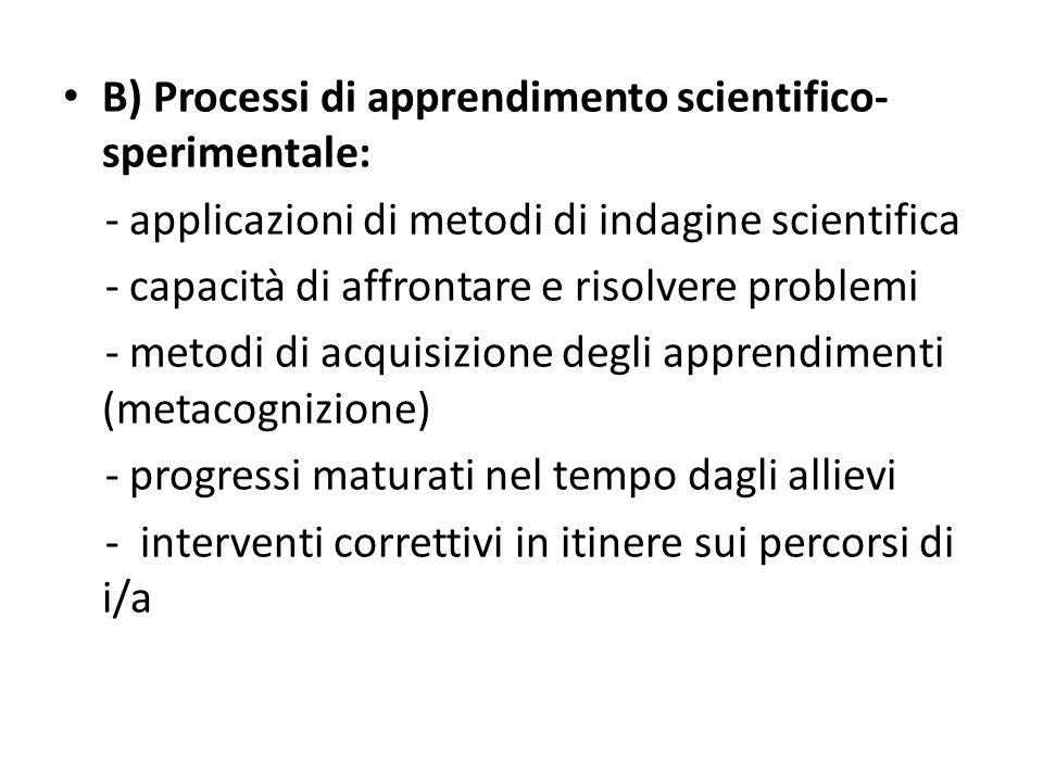 B) Processi di apprendimento scientifico- sperimentale: - applicazioni di metodi di indagine scientifica - capacità di affrontare e risolvere problemi