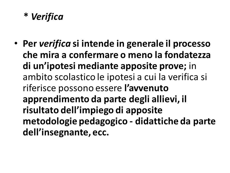 * Verifica Per verifica si intende in generale il processo che mira a confermare o meno la fondatezza di unipotesi mediante apposite prove; in ambito