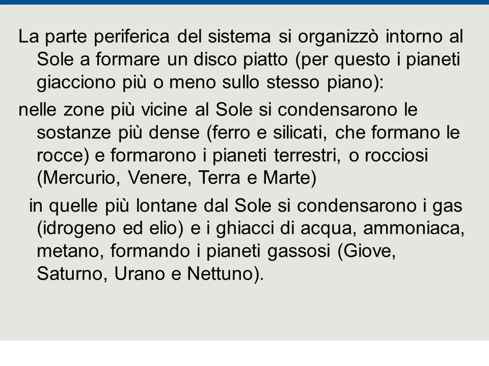F. Fantini, S. Monesi, S. Piazzini - la Terra età 4,5 miliardi di anni - © Italo Bovolenta editore 2010 La parte periferica del sistema si organizzò i