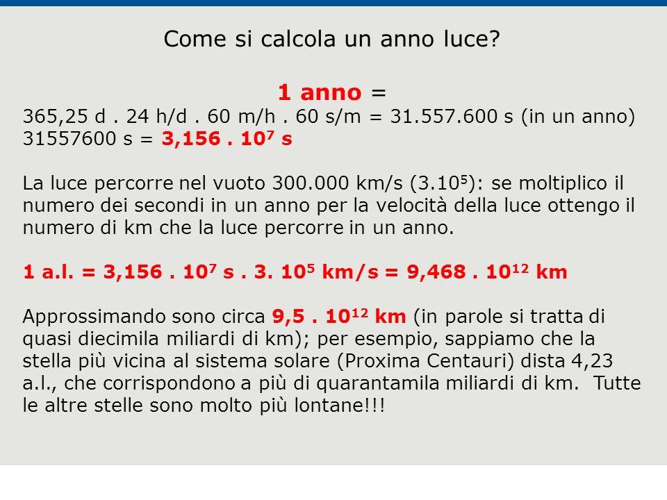 F. Fantini, S. Monesi, S. Piazzini - la Terra età 4,5 miliardi di anni - © Italo Bovolenta editore 2010 4 Come si calcola un anno luce? 1 anno = 365,2