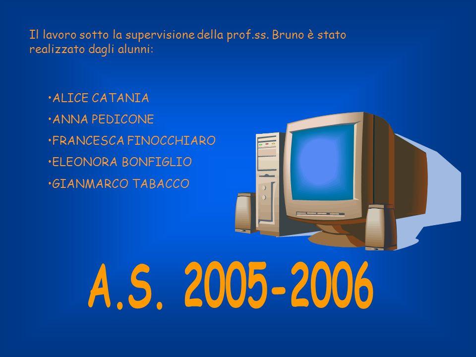 Il lavoro sotto la supervisione della prof.ss. Bruno è stato realizzato dagli alunni: ALICE CATANIA ANNA PEDICONE FRANCESCA FINOCCHIARO ELEONORA BONFI