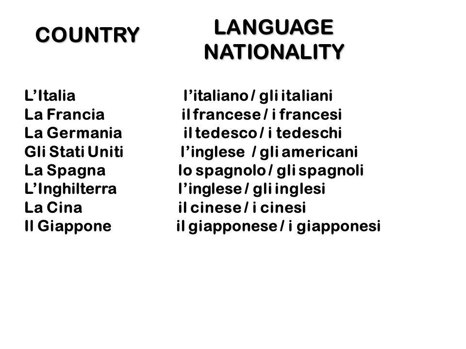 COUNTRY LItalia litaliano / gli italiani La Francia il francese / i francesi La Germania il tedesco / i tedeschi Gli Stati Uniti linglese / gli americ