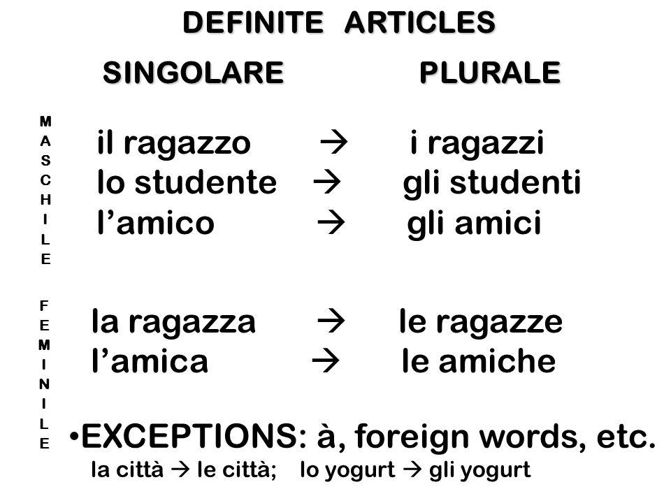 SINGOLARE INDEFINITE ARTICLES un ragazzo uno studente un amico una ragazza unamica Gli italiani bevono almeno un caffè al giorno.