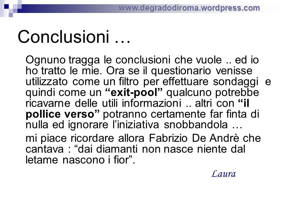 www.degradodiroma.wordpress.com Conclusioni … Ognuno tragga le conclusioni che vuole..