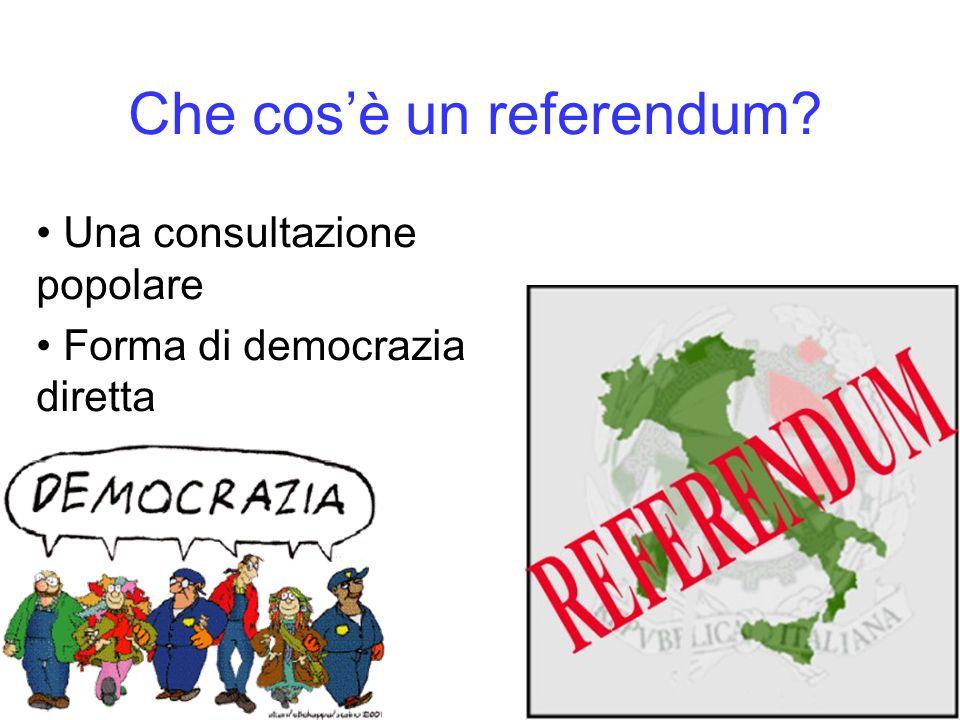 Che cosè un referendum? Una consultazione popolare Forma di democrazia diretta