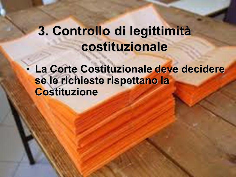 3. Controllo di legittimità costituzionale La Corte Costituzionale deve decidere se le richieste rispettano la CostituzioneLa Corte Costituzionale dev