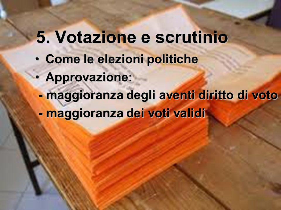 5. Votazione e scrutinio Come le elezioni politicheCome le elezioni politiche Approvazione:Approvazione: - maggioranza degli aventi diritto di voto -