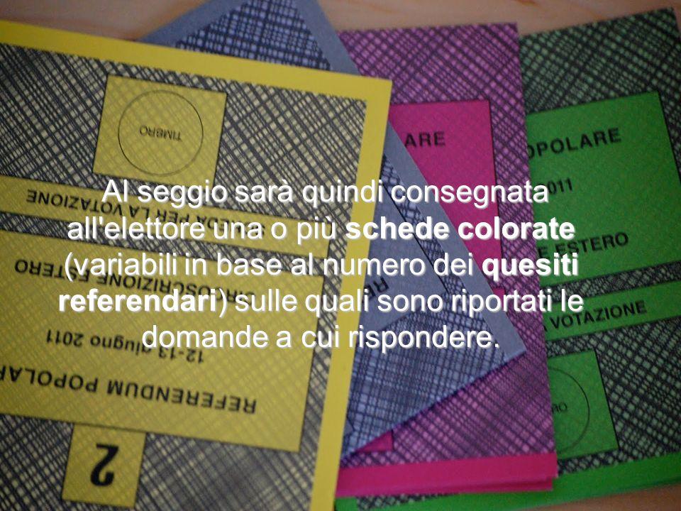 Al seggio sarà quindi consegnata all'elettore una o più schede colorate (variabili in base al numero dei quesiti referendari) sulle quali sono riporta