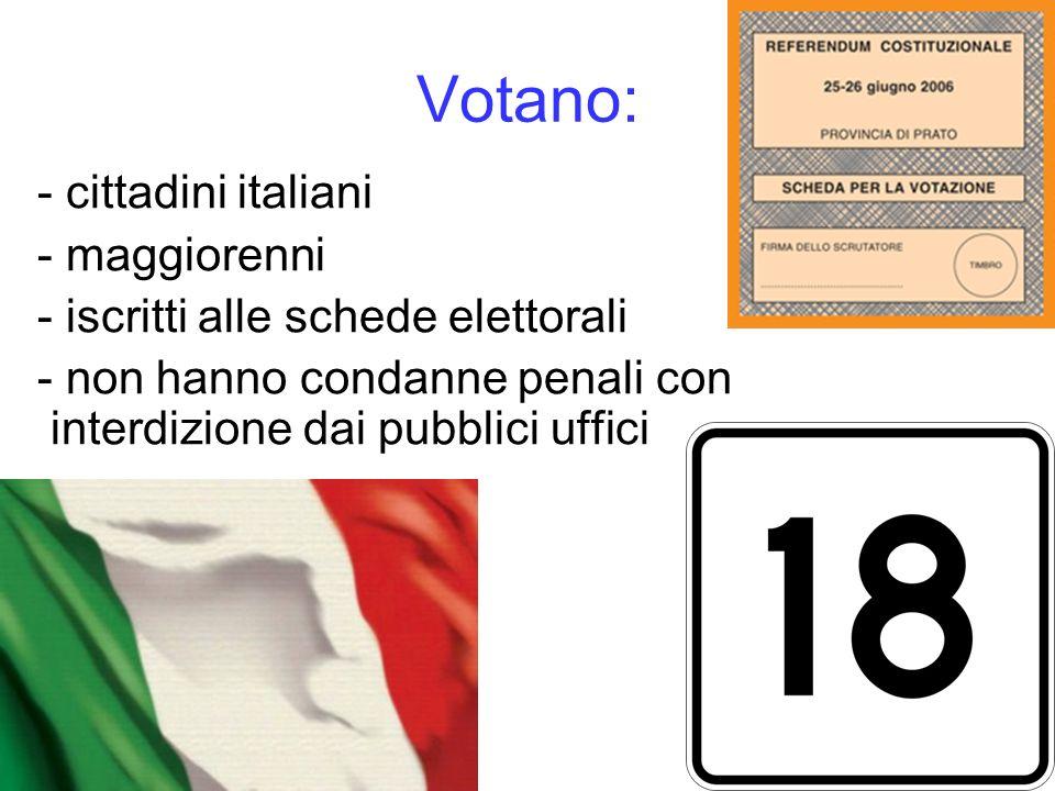 Votano: - cittadini italiani - maggiorenni - iscritti alle schede elettorali - non hanno condanne penali con interdizione dai pubblici uffici