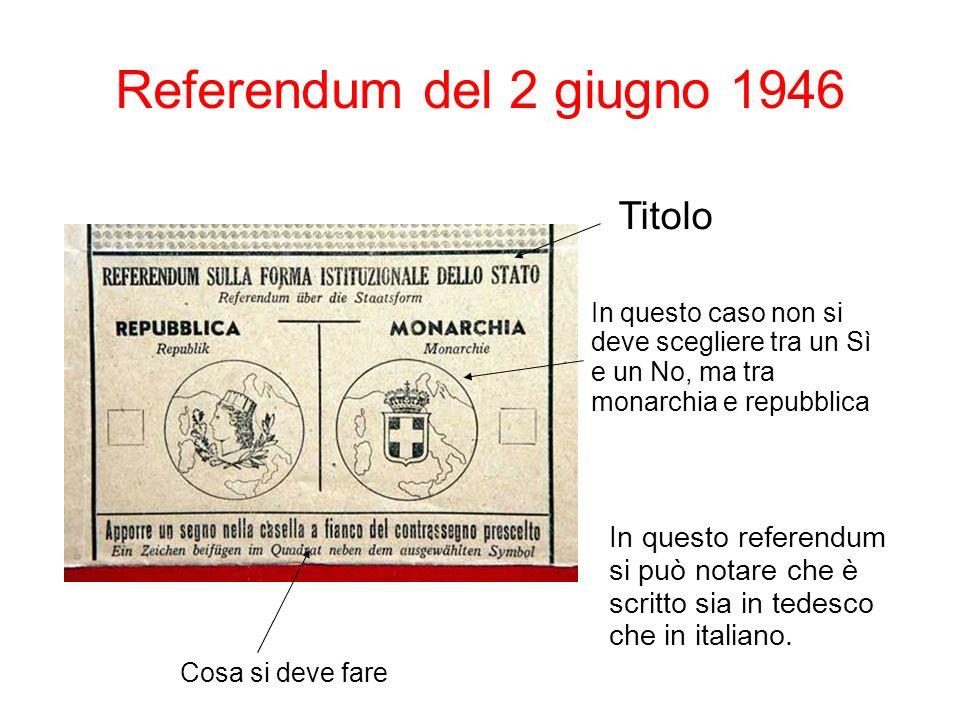 Referendum del 2 giugno 1946 In questo referendum si può notare che è scritto sia in tedesco che in italiano. Titolo Cosa si deve fare In questo caso
