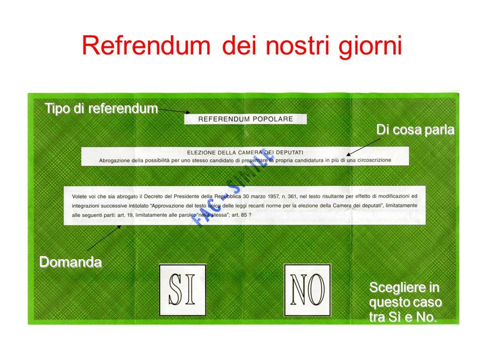 Refrendum dei nostri giorni Tipo di referendum Di cosa parla Domanda Scegliere in questo caso tra Sì e No.