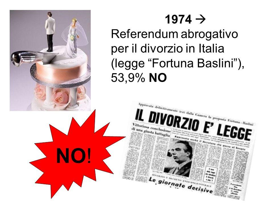 1974 Referendum abrogativo per il divorzio in Italia (legge Fortuna Baslini), 53,9% NO NO!