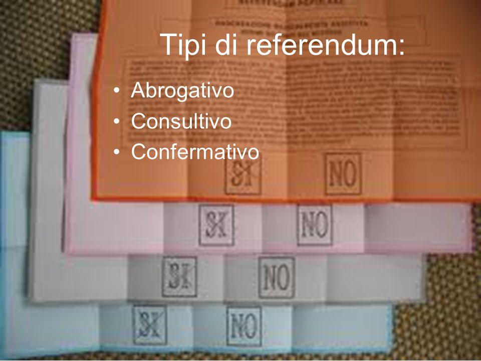 Tipi di referendum: Abrogativo Consultivo Confermativo