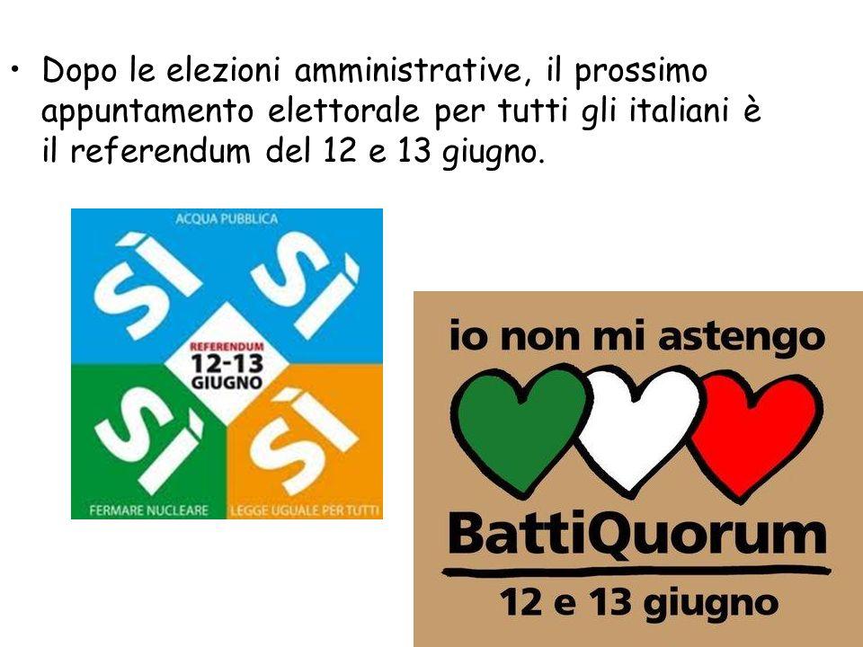 Dopo le elezioni amministrative, il prossimo appuntamento elettorale per tutti gli italiani è il referendum del 12 e 13 giugno.