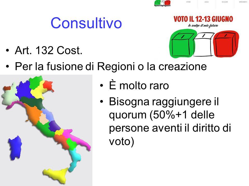 Consultivo Art. 132 Cost. Per la fusione di Regioni o la creazione di altre È molto raro Bisogna raggiungere il quorum (50%+1 delle persone aventi il