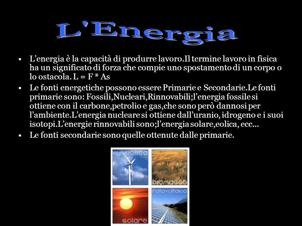 Lenergia è la capacità di produrre lavoro.Il termine lavoro in fisica ha un significato di forza che compie uno spostamento di un corpo o lo ostacola.
