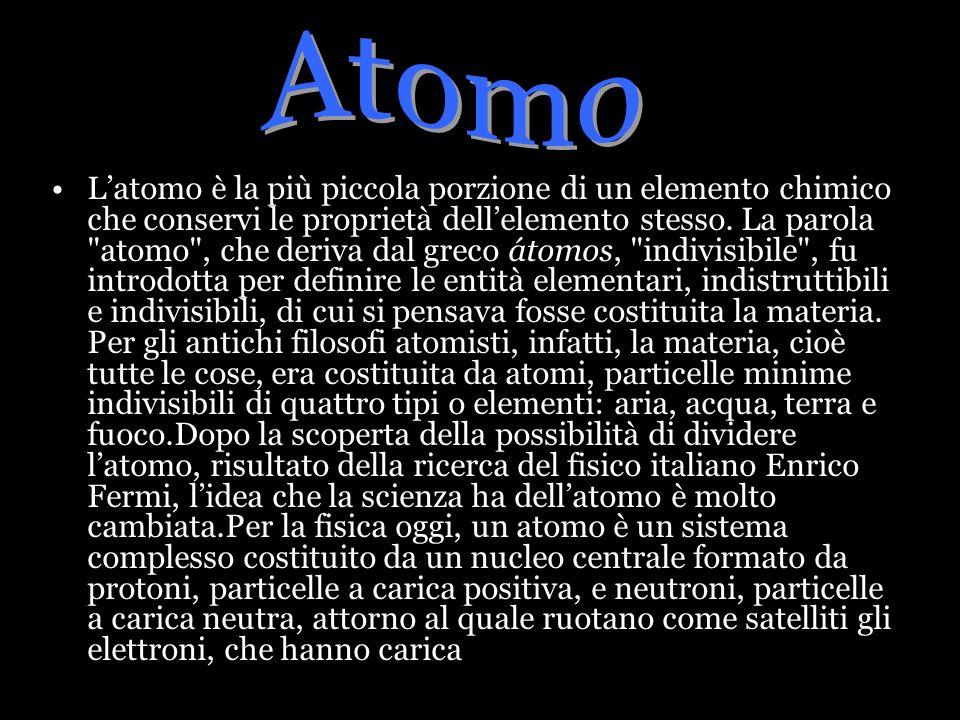 negativa.Ogni sostanza ha una sua struttura atomica, dovuta alla quantità, disposizione e natura dei componenti atomici.Per la chimica, latomo, invece, è la più piccola particella capace di combinarsi in un composto o in una reazione.