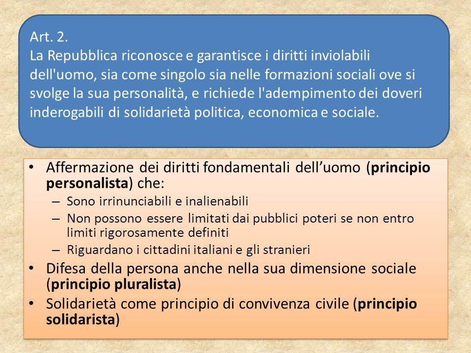 Affermazione dei diritti fondamentali delluomo (principio personalista) che: – Sono irrinunciabili e inalienabili – Non possono essere limitati dai pu