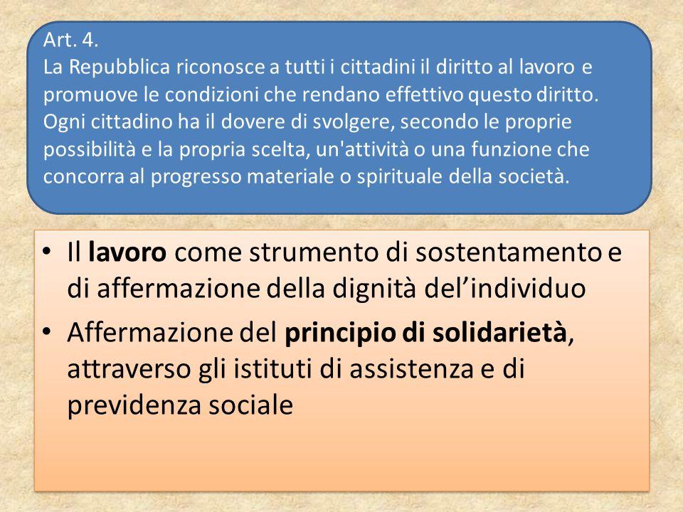 Il lavoro come strumento di sostentamento e di affermazione della dignità delindividuo Affermazione del principio di solidarietà, attraverso gli istit