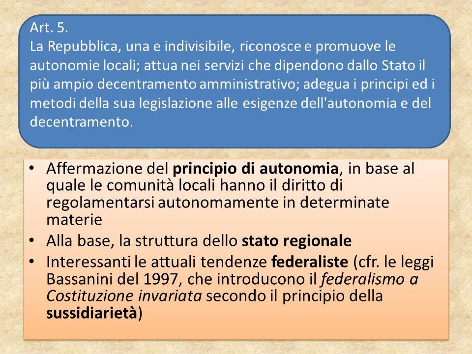 Affermazione del principio di autonomia, in base al quale le comunità locali hanno il diritto di regolamentarsi autonomamente in determinate materie A