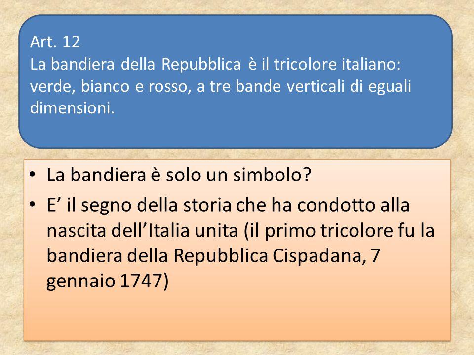 La bandiera è solo un simbolo? E il segno della storia che ha condotto alla nascita dellItalia unita (il primo tricolore fu la bandiera della Repubbli
