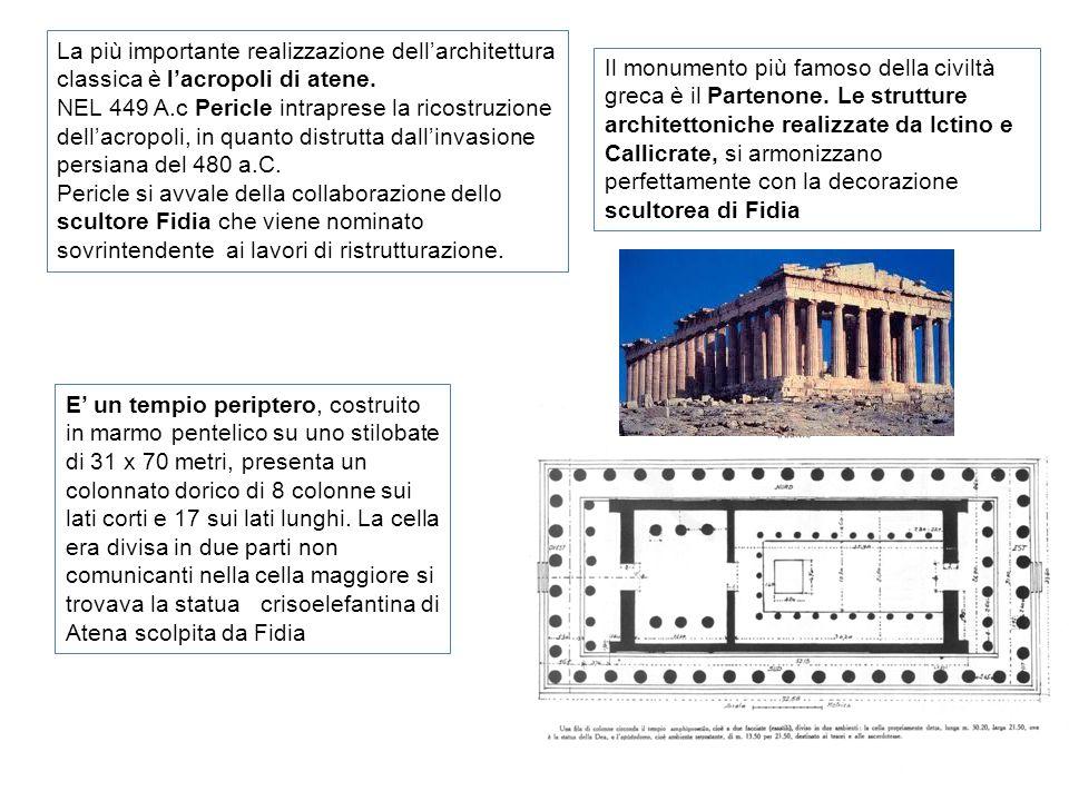 La più importante realizzazione dellarchitettura classica è lacropoli di atene. NEL 449 A.c Pericle intraprese la ricostruzione dellacropoli, in quant