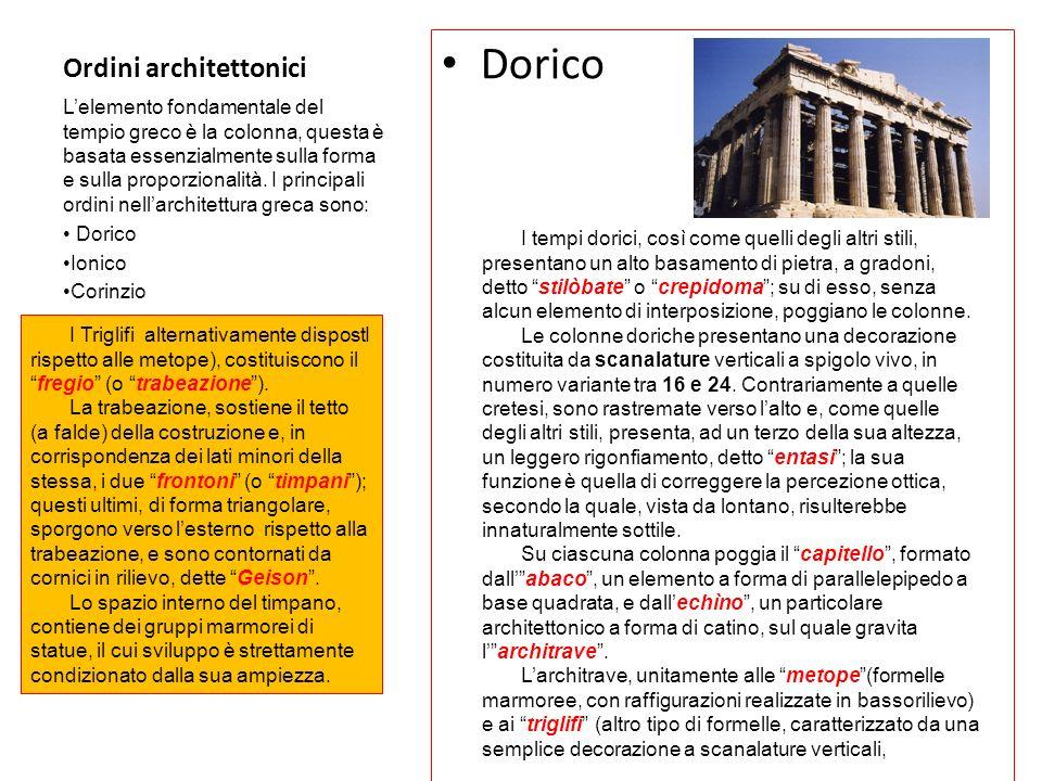 Ordini architettonici Dorico Lelemento fondamentale del tempio greco è la colonna, questa è basata essenzialmente sulla forma e sulla proporzionalità.