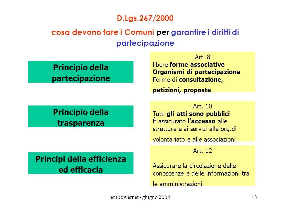 empowernet - giugno 200412 principio di sussidiarietà orizzontale (o principio di sussidiarietà circolare) Linee guida per lattuazione dellart.118 – P
