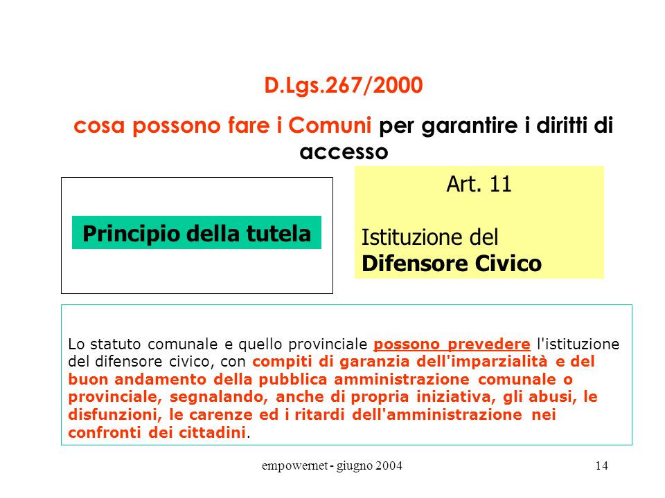 empowernet - giugno 200413 D.Lgs.267/2000 cosa devono fare i Comuni per garantire i diritti di partecipazione Principio della partecipazione Art. 8 li