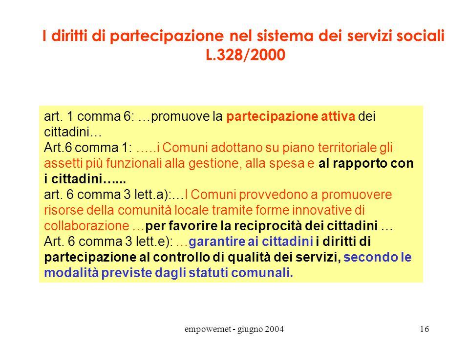 empowernet - giugno 200415 Principi sull'erogazione dei servizi pubblici (Direttiva PCM 27 gennaio 1994) Servizio Pubblico = anche quelli svolti in re