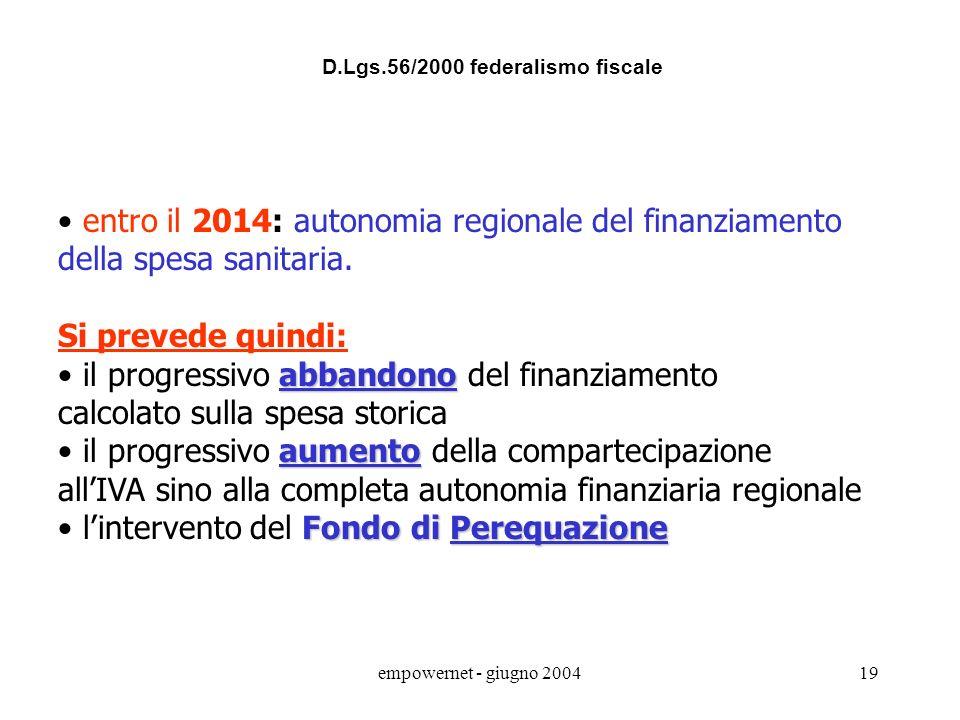 empowernet - giugno 200418 Art.1 comma 2: nelle materie appartenenti alla legislazione concorrente, le Regioni esercitano la potestà legislativa nella