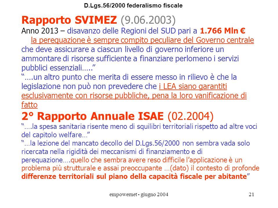 empowernet - giugno 200420 D.Lgs.56/2000 federalismo fiscale Alcune informazioni utili in materia di Federalismo Fiscale ACoFF - Alta Commissione di S