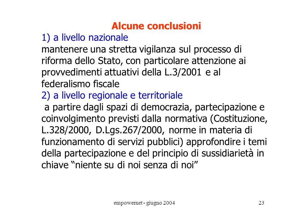 empowernet - giugno 200422 LA SITUAZIONE DAL PUNTO DI VISTA DELLE REGIONI prorogare per lanno 2004 il Fondo di Garanzia previsto dal D.Lgs.56/2000 pro