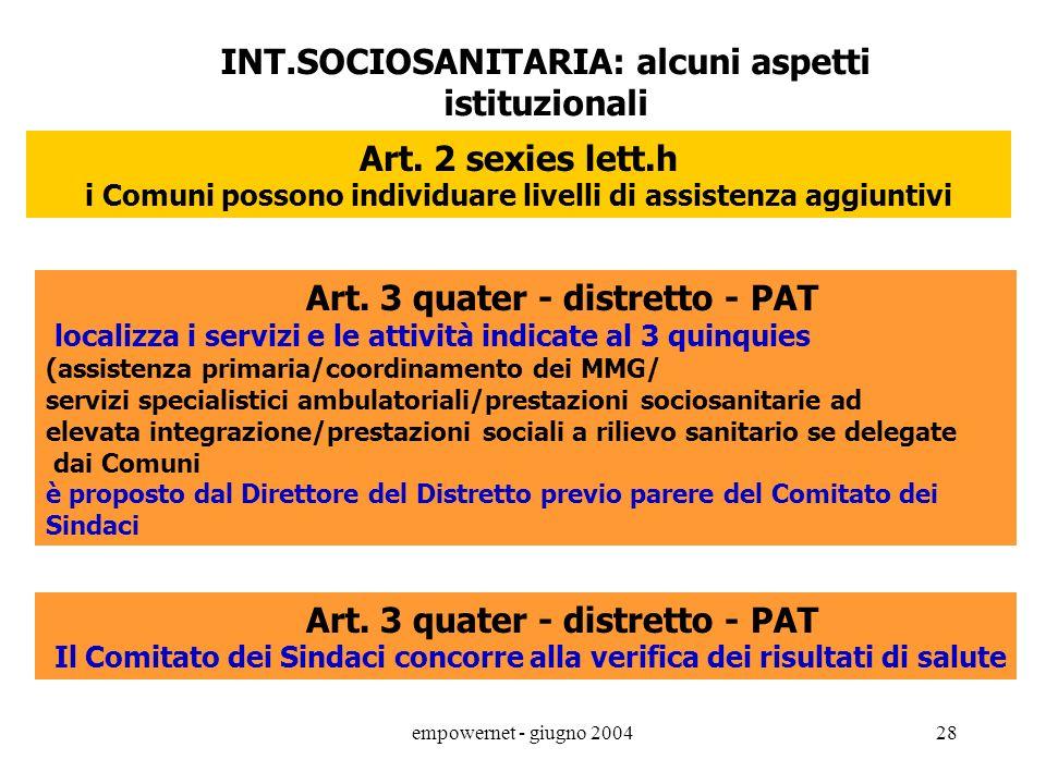 empowernet - giugno 200427 Art. 2 comma 2/3 bis: conferenza regionale permanente per la programmazione sanitaria e sociosanitaria il Sindaco del Comun