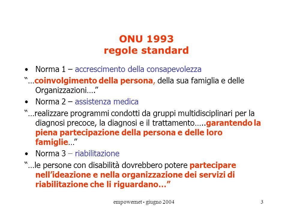 empowernet - giugno 20043 ONU 1993 regole standard Norma 1 – accrescimento della consapevolezza …coinvolgimento della persona, della sua famiglia e delle Organizzazioni….