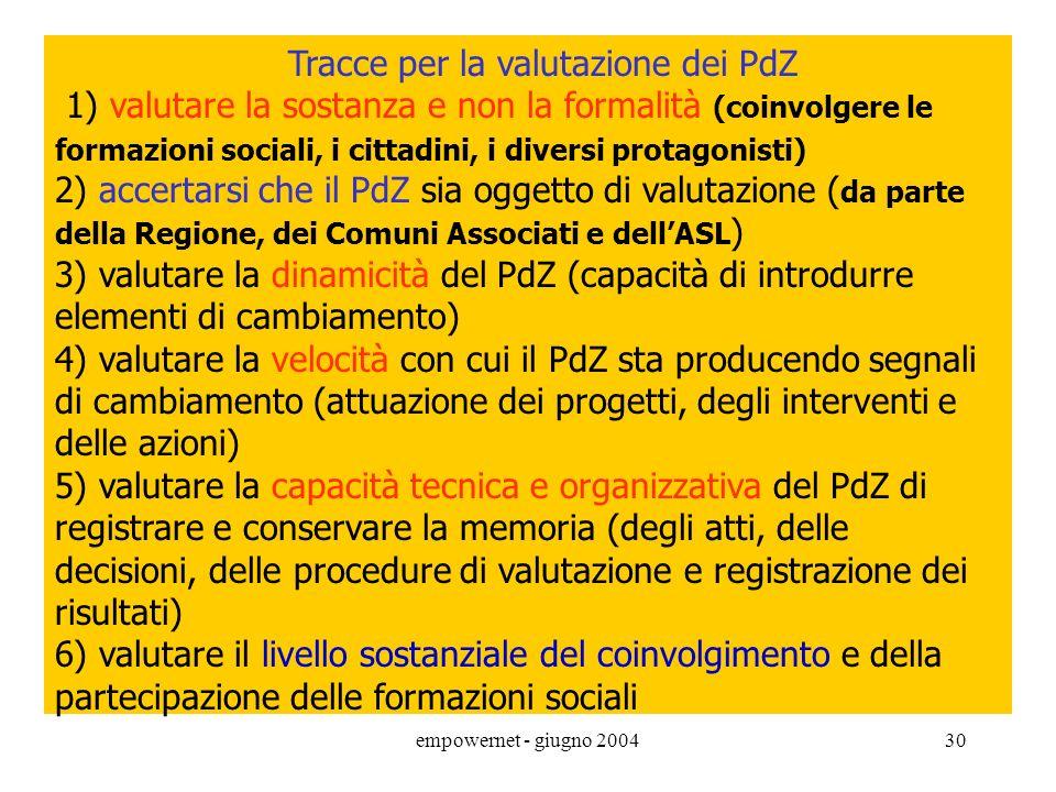 empowernet - giugno 200429 INT.SOCIOSANITARIA: alcuni aspetti istituzionali L.328/2000 e PSN - PdZ art.19 c.1 (intesa con la ASL) I PdZdevono essere c