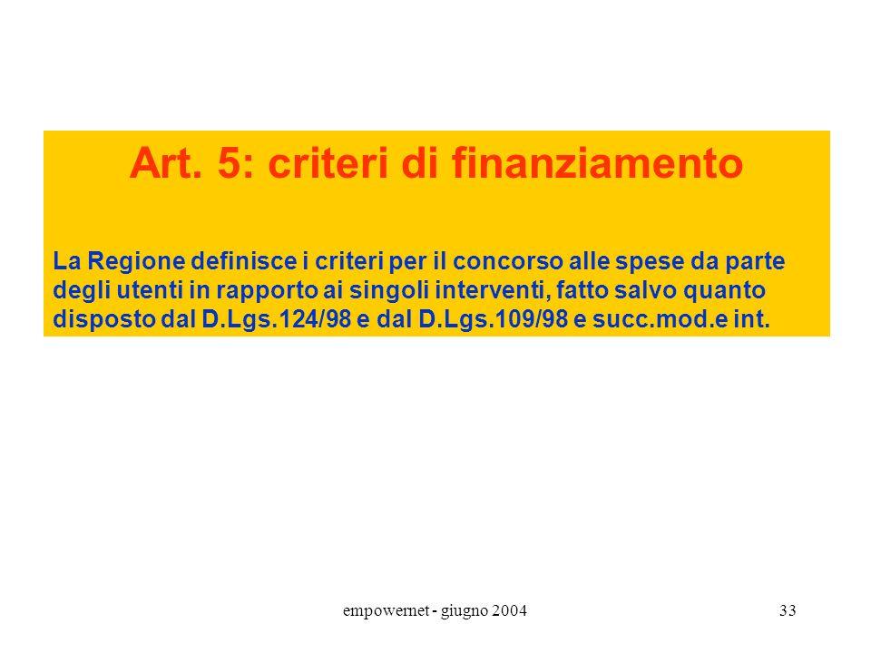 empowernet - giugno 200432 INT.SOCIOSANITARI: alcuni aspetti istituzionali DPCM 14.02.2001 Art. 4: principi di programmazione e di organizzazione dell