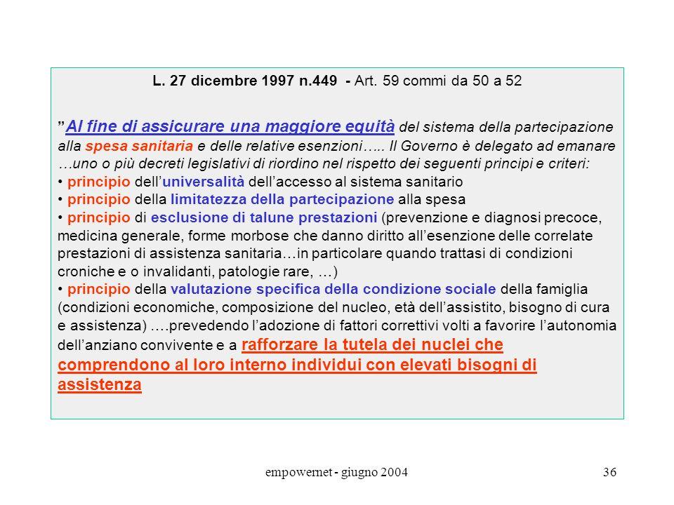empowernet - giugno 200435 LAUTONOMIA IMPOSITIVA DEGLI ENTI LOCALI Art. 114 Cost. I Comuni, le Provincie, le Città Metropolitane e le Regioni sono ent