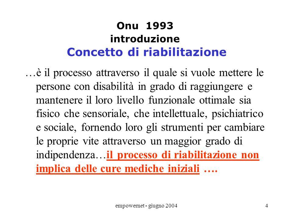 empowernet - giugno 20043 ONU 1993 regole standard Norma 1 – accrescimento della consapevolezza …coinvolgimento della persona, della sua famiglia e de